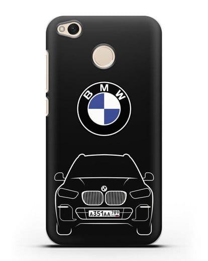 Чехол BMW X5 с автомобильным номером силикон черный для Xiaomi Redmi 4X