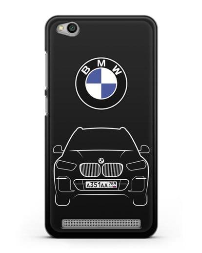 Чехол BMW X5 с автомобильным номером силикон черный для Xiaomi Redmi 5A