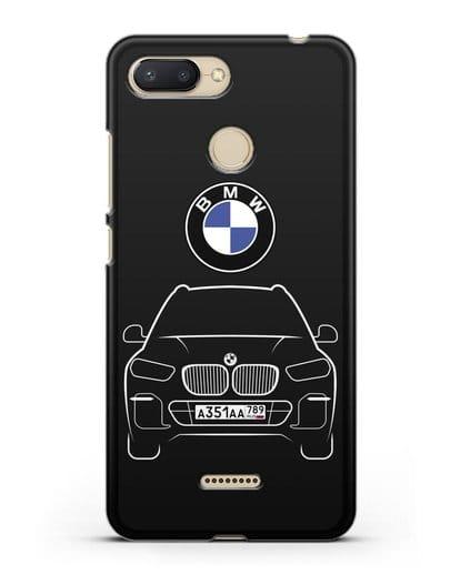 Чехол BMW X5 с автомобильным номером силикон черный для Xiaomi Redmi 6