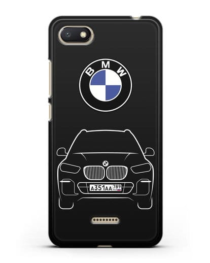 Чехол BMW X5 с автомобильным номером силикон черный для Xiaomi Redmi 6A