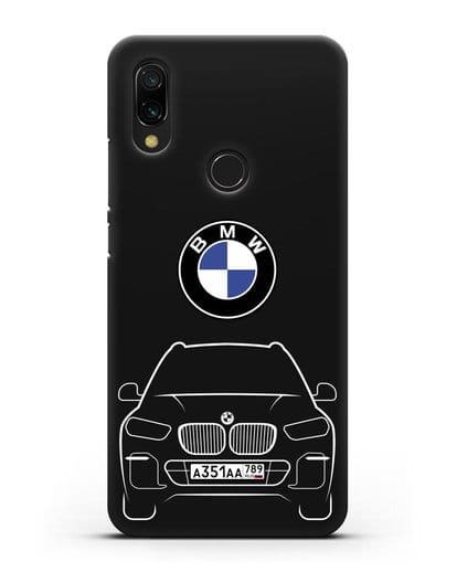 Чехол BMW X5 с автомобильным номером силикон черный для Xiaomi Redmi 7