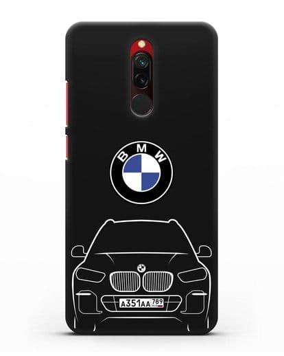 Чехол BMW X5 с автомобильным номером силикон черный для Xiaomi Redmi 8