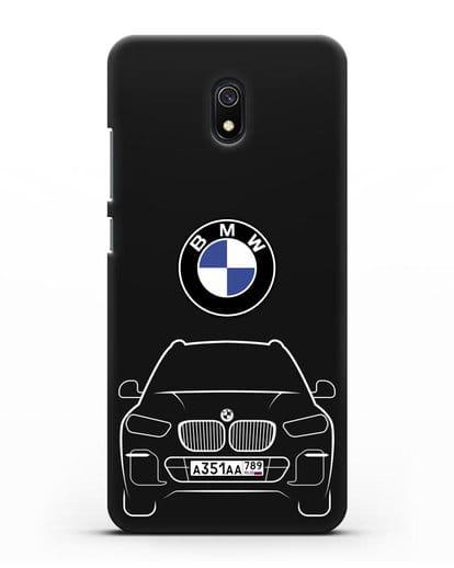 Чехол BMW X5 с автомобильным номером силикон черный для Xiaomi Redmi 8A
