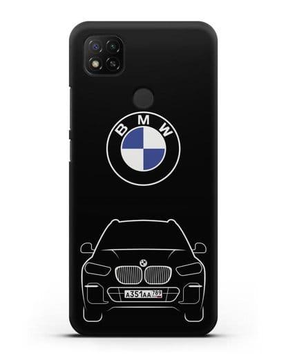 Чехол BMW X5 с автомобильным номером силикон черный для Xiaomi Redmi 9С