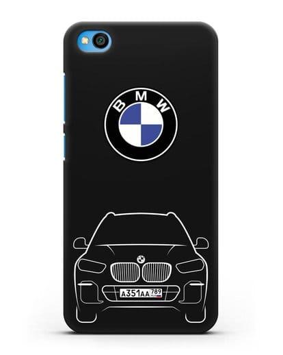 Чехол BMW X5 с автомобильным номером силикон черный для Xiaomi Redmi Go