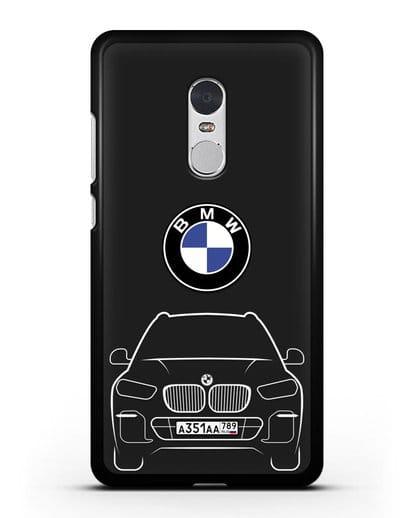Чехол BMW X5 с автомобильным номером силикон черный для Xiaomi Redmi Note 4