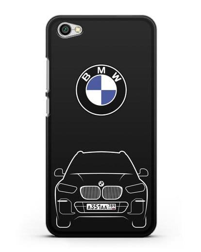Чехол BMW X5 с автомобильным номером силикон черный для Xiaomi Redmi Note 5A