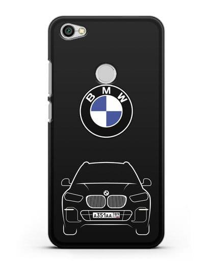 Чехол BMW X5 с автомобильным номером силикон черный для Xiaomi Redmi Note 5A Prime
