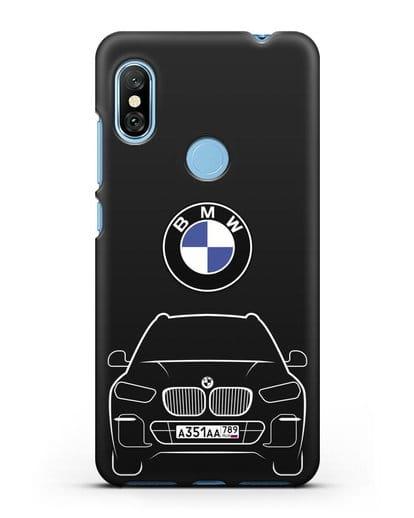 Чехол BMW X5 с автомобильным номером силикон черный для Xiaomi Redmi Note 6 Pro