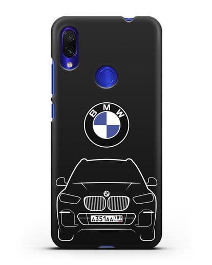 Чехол BMW X5 с автомобильным номером силикон черный для Xiaomi Redmi Note 7