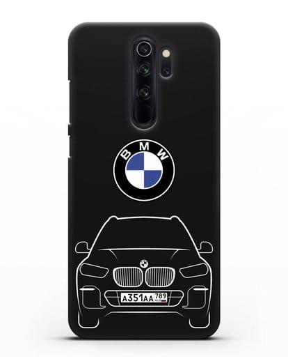 Чехол BMW X5 с автомобильным номером силикон черный для Xiaomi Redmi Note 8 Pro