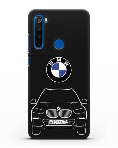 Чехол BMW X5 с автомобильным номером силикон черный для Xiaomi Redmi Note 8T