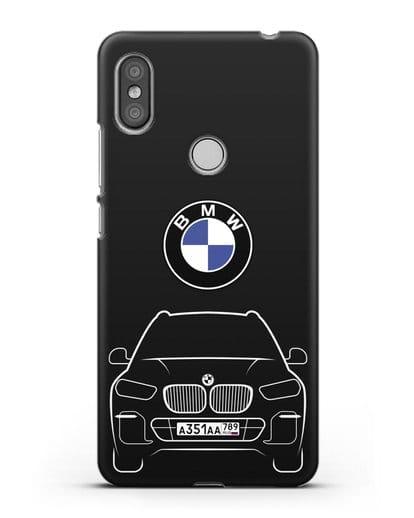 Чехол BMW X5 с автомобильным номером силикон черный для Xiaomi Redmi S2