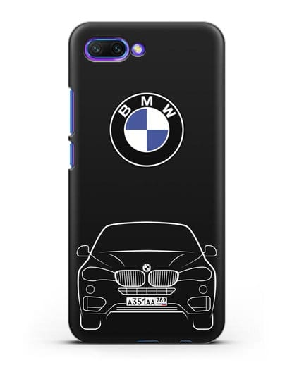 Чехол BMW X6 с автомобильным номером силикон черный для Honor 10