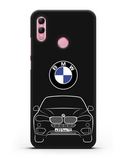 Чехол BMW X6 с автомобильным номером силикон черный для Honor 10 Lite