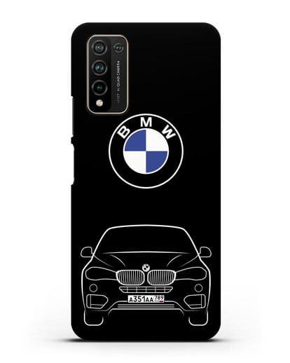 Чехол BMW X6 с автомобильным номером силикон черный для Honor 10X Lite