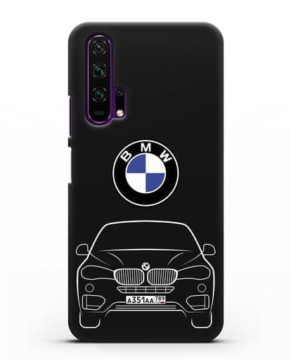 Чехол BMW X6 с автомобильным номером силикон черный для Honor 20 Pro