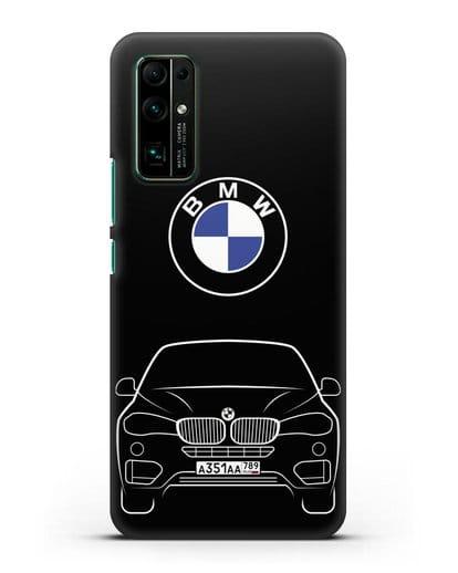 Чехол BMW X6 с автомобильным номером силикон черный для Honor 30