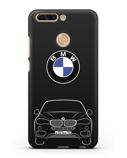 Чехол BMW X6 с автомобильным номером силикон черный для Honor 8 Pro