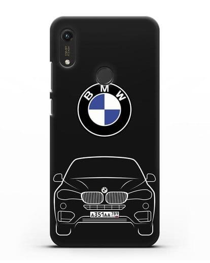 Чехол BMW X6 с автомобильным номером силикон черный для Honor 8A Prime