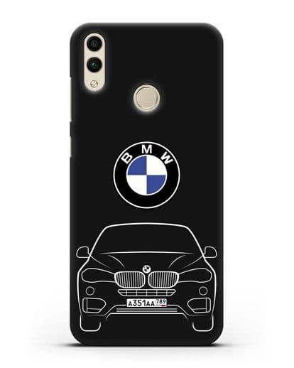 Чехол BMW X6 с автомобильным номером силикон черный для Honor 8C