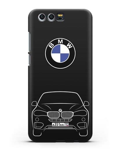 Чехол BMW X6 с автомобильным номером силикон черный для Honor 9