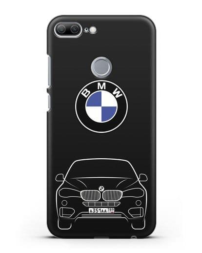 Чехол BMW X6 с автомобильным номером силикон черный для Honor 9 Lite