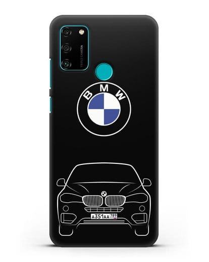 Чехол BMW X6 с автомобильным номером силикон черный для Honor 9A