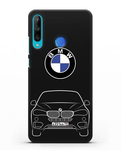 Чехол BMW X6 с автомобильным номером силикон черный для Honor 9C