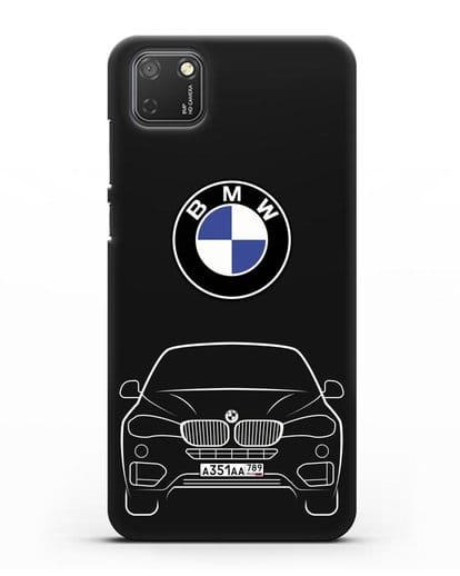Чехол BMW X6 с автомобильным номером силикон черный для Honor 9S