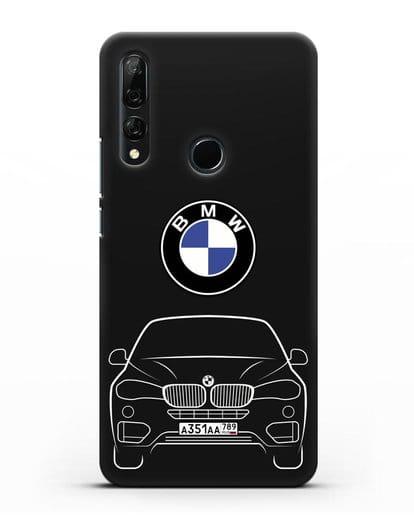 Чехол BMW X6 с автомобильным номером силикон черный для Honor 9X