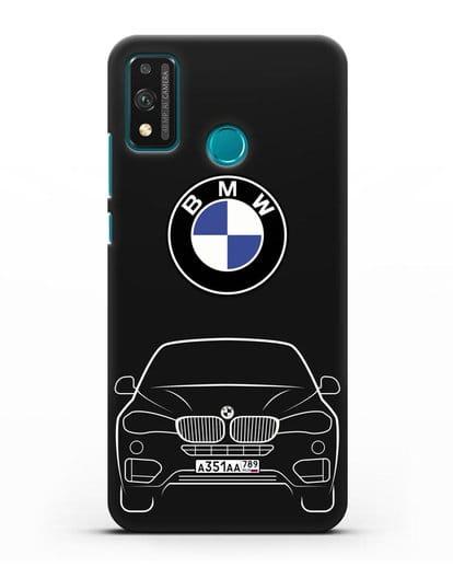 Чехол BMW X6 с автомобильным номером силикон черный для Honor 9X lite