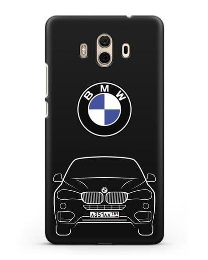 Чехол BMW X6 с автомобильным номером силикон черный для Huawei Mate 10