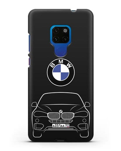 Чехол BMW X6 с автомобильным номером силикон черный для Huawei Mate 20