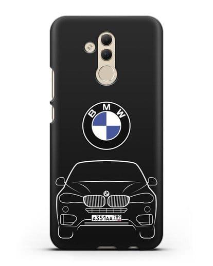 Чехол BMW X6 с автомобильным номером силикон черный для Huawei Mate 20 Lite