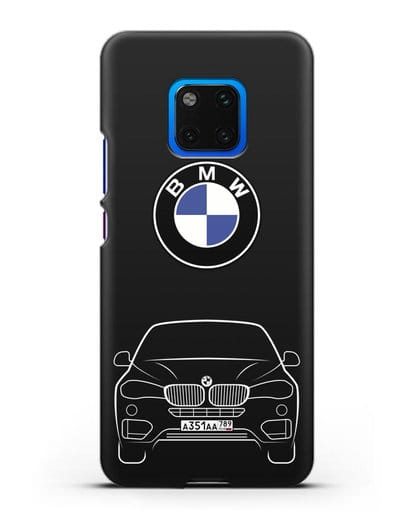Чехол BMW X6 с автомобильным номером силикон черный для Huawei Mate 20 Pro