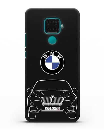 Чехол BMW X6 с автомобильным номером силикон черный для Huawei Mate 30 Lite