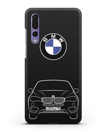 Чехол BMW X6 с автомобильным номером силикон черный для Huawei P20 Pro