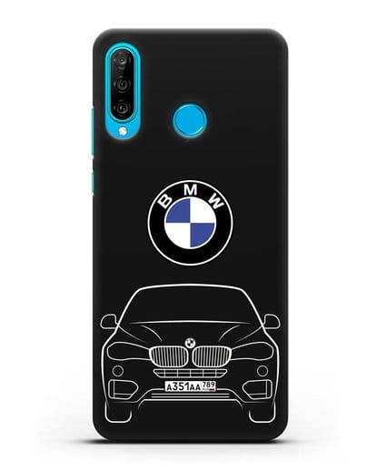 Чехол BMW X6 с автомобильным номером силикон черный для Huawei P30 Lite