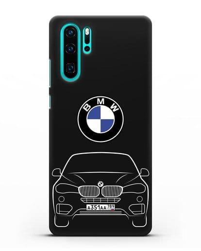 Чехол BMW X6 с автомобильным номером силикон черный для Huawei P30 Pro