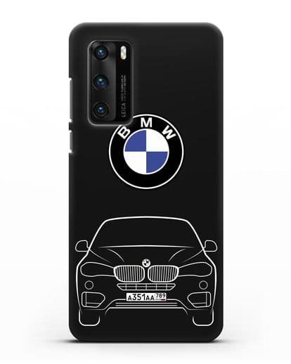 Чехол BMW X6 с автомобильным номером силикон черный для Huawei P40