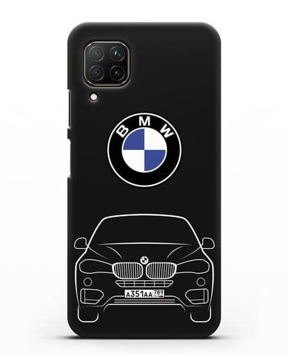 Чехол BMW X6 с автомобильным номером силикон черный для Huawei P40 lite