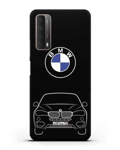 Чехол BMW X6 с автомобильным номером силикон черный для Huawei P Smart 2021