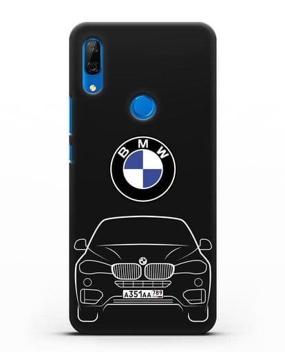 Чехол BMW X6 с автомобильным номером силикон черный для Huawei P Smart Z