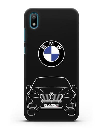 Чехол BMW X6 с автомобильным номером силикон черный для Huawei Y5 2019