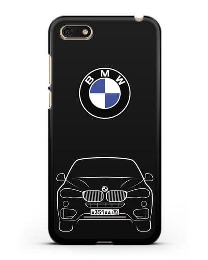 Чехол BMW X6 с автомобильным номером силикон черный для Huawei Y5 Prime 2018