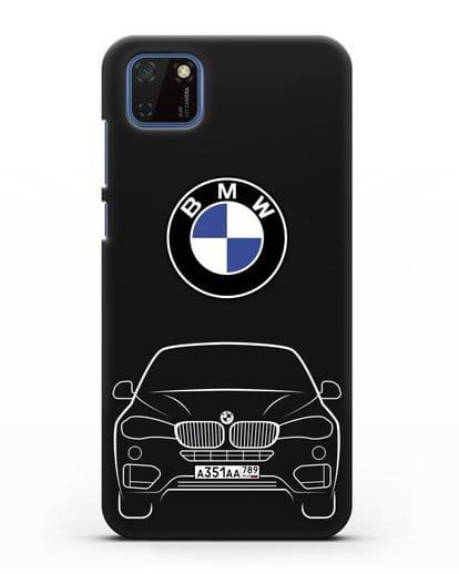 Чехол BMW X6 с автомобильным номером силикон черный для Huawei Y5P