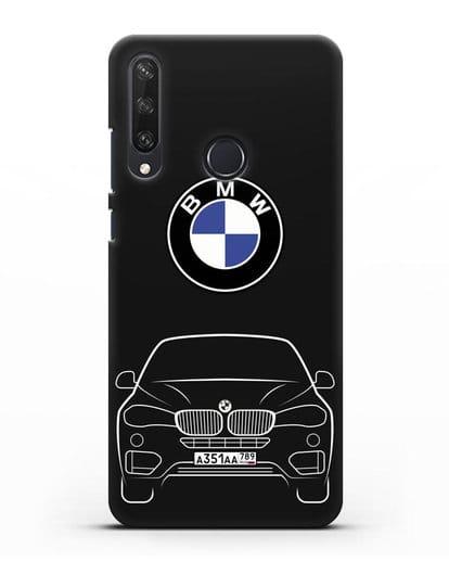 Чехол BMW X6 с автомобильным номером силикон черный для Huawei Y6P