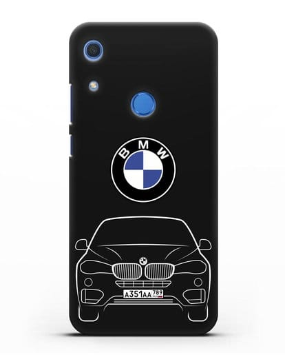 Чехол BMW X6 с автомобильным номером силикон черный для Huawei Y6s