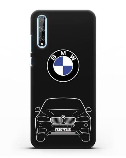 Чехол BMW X6 с автомобильным номером силикон черный для Huawei Y8P